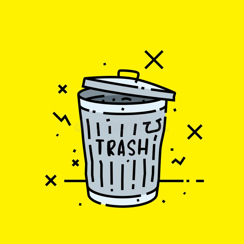 Old trash can icon vector illustration