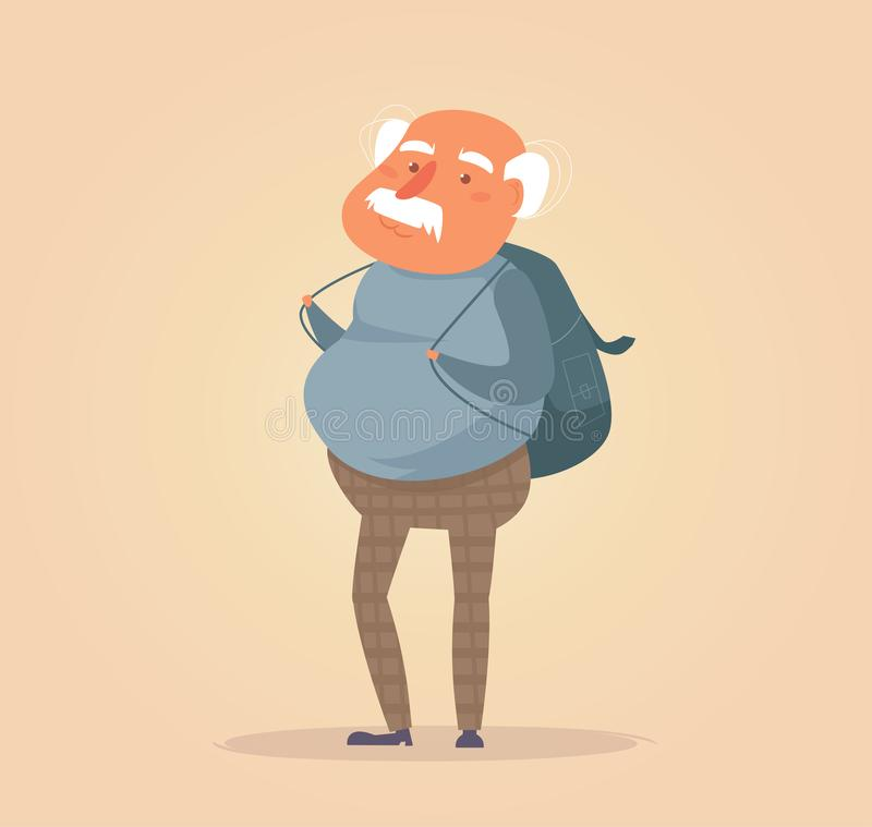 Old traveler Vector. Cartoon. stock illustration