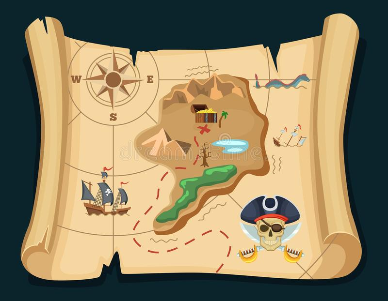 Old treasure map for pirate adventures. Island with old chest. Vector illustration. Pirate map treasure, travel adventure royalty free illustration