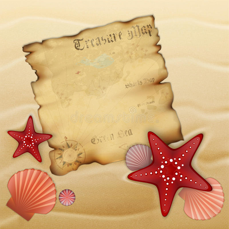 Old treasure map on sand. With starfishes, shells and urchin. Illustration contains gradient mesh royalty free illustration