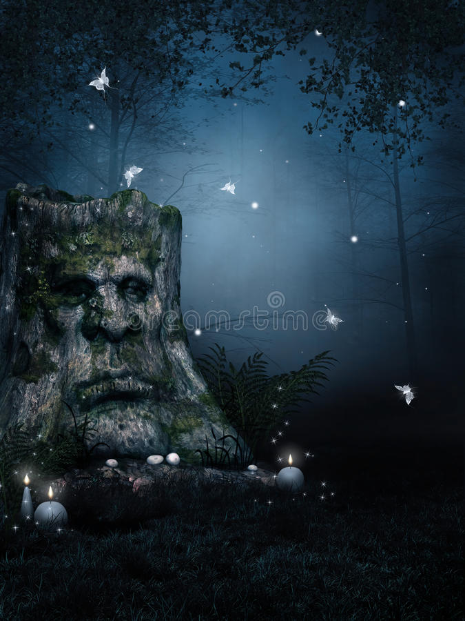 Old tree in enchanted forest. Old tree stump in an enchanted forest at night stock illustration