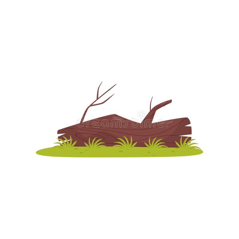Old tree trunk, element of tropical jungle forest landscape vector Illustration on a white background stock illustration