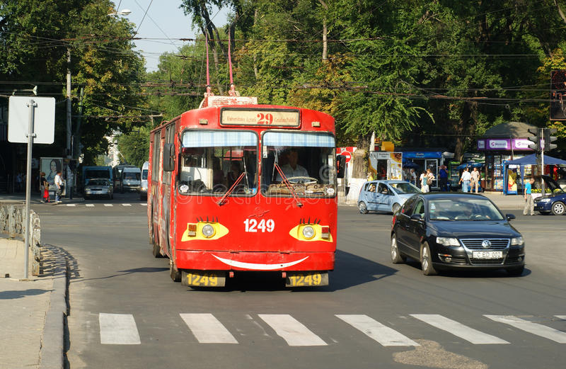 Download Red Old Trolley Bus In Chisinau Editorial Photo - Image: 29329551