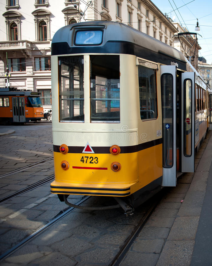 Download Old trolley in Milan stock photo. Image of city, sunny - 24461052