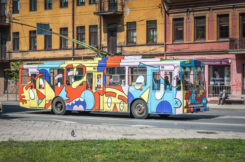 Old trolleybuses in Kaunas transformed thanks to street art. Kaunas, Lithuania- May 12, 2019: Old trolleybuses in Kaunas transformed thanks to street art stock photography
