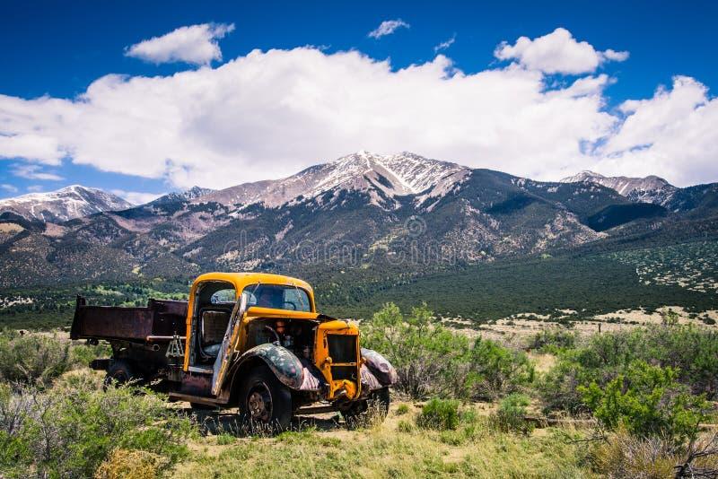 Old Truck Mountain Range royalty free stock image