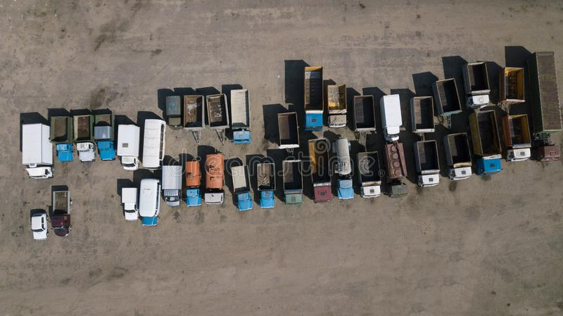 Old truck Parking top view aerial view from drone stock image