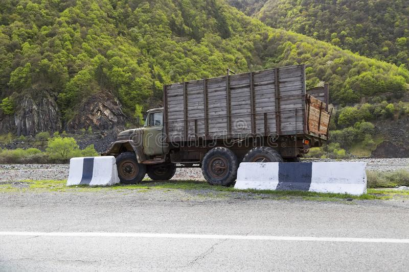 An old truck with a wooden body stock images