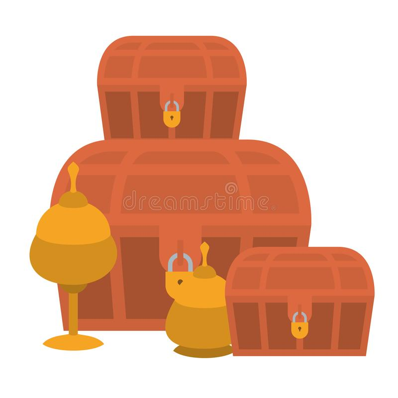 Old trunks and chalices. Vector illustration design vector illustration