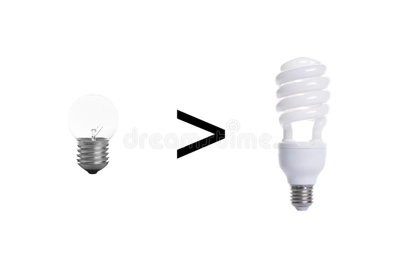 Old tungsten light bulb and fluorescent spiral light bulb. Old tungsten light bulb and fluorescent spiral light bulb isolated on white background royalty free stock photo