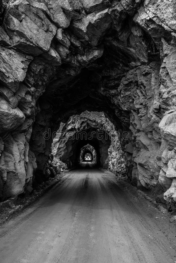 Old Tunnel Mountain Pass in Colorado stock photo