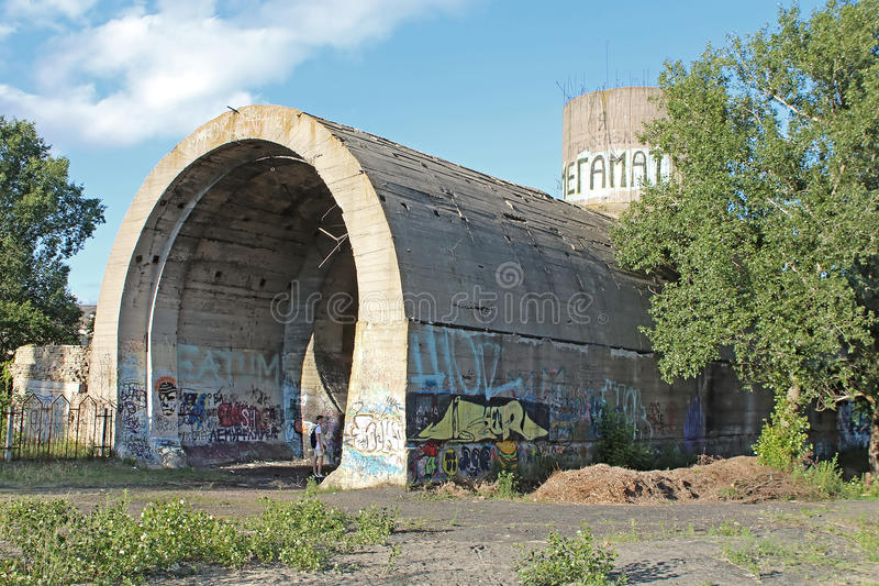 Old tunnel of Stalin. Part of Kyiv defense line in WW2 time. Today named `Concrete submarine`, Kyiv stock image