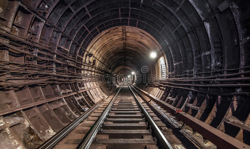 Old Tunnel subway in moscow royalty free stock image