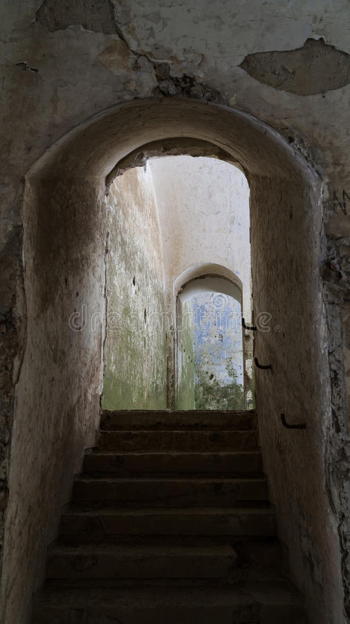 Free Old Tunnel Which Stairs In Siedliska Fortifications Salis Soglio. Royalty Free Stock Photos - 86582818