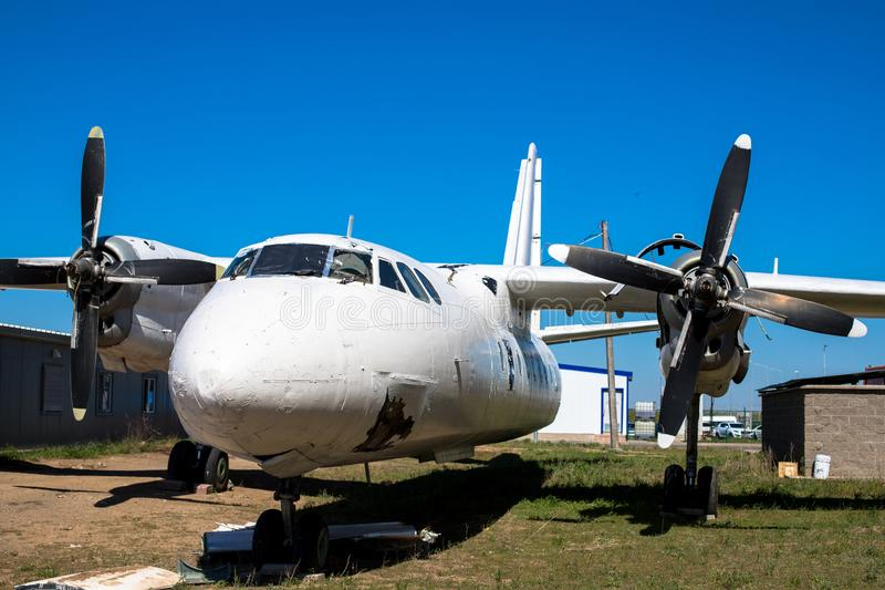 Old turboprop aircraft. Damaged aircraft. Aviation accident royalty free stock photography