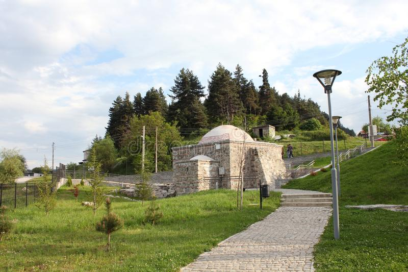 The Old Turkish bath in the village of Bania Banya near the town of Razlog. Bania Banya is the Bulgarian word for bath. There are many hot mineral springs in the royalty free stock images