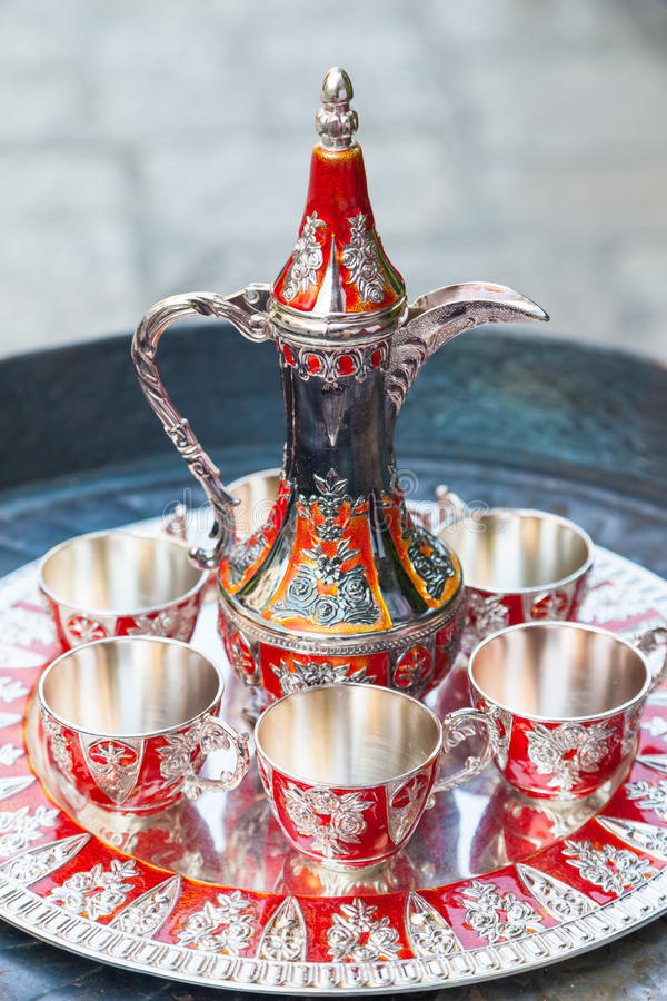Old Turkish coffee service royalty free stock photos