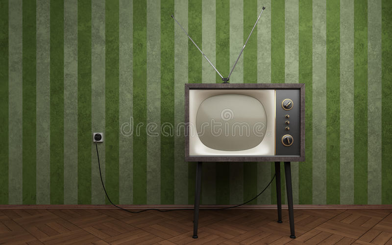 Old TV. In empty room with green striped wallpapers
