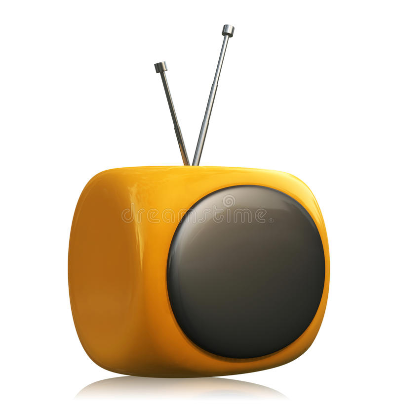 Old TV. A 3D retro TV placed on a white reflective background vector illustration