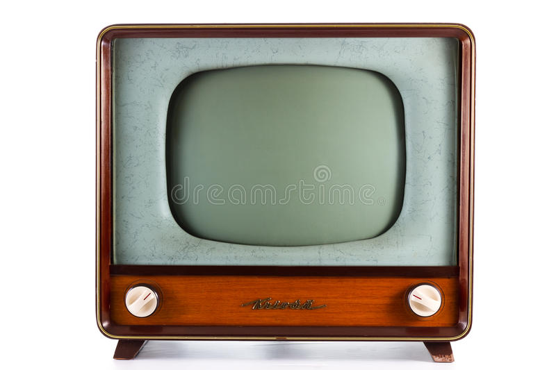 Old TV. 1960's old television on a white background royalty free stock photos