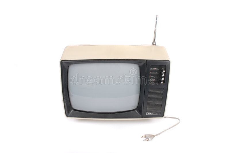 Old TV. On the white background stock photo