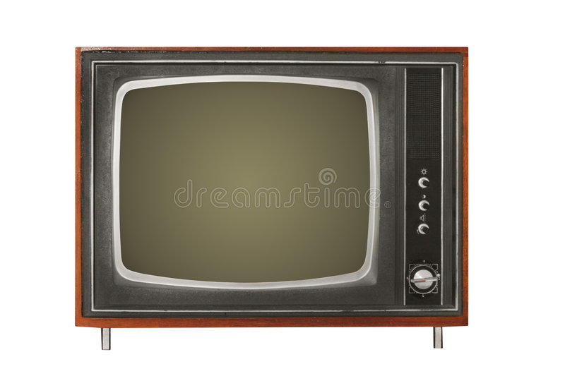 Old TV. Isolated over white background stock photos