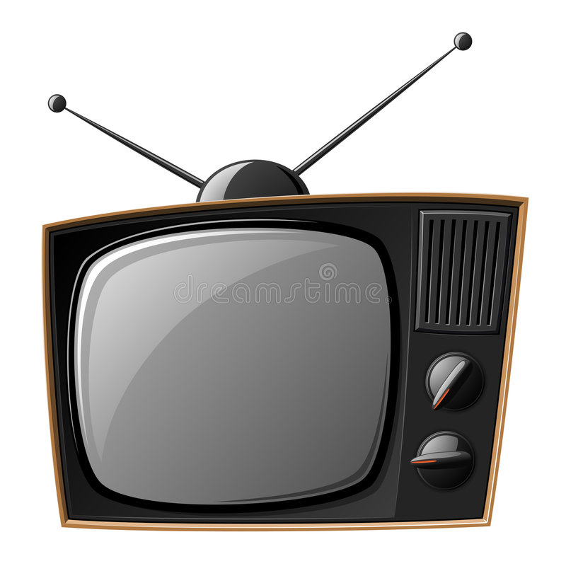Old TV. Set isolated on white (Vector