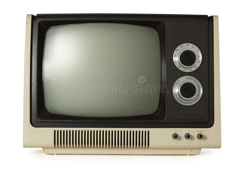 Old TV. Isolated on white stock photos