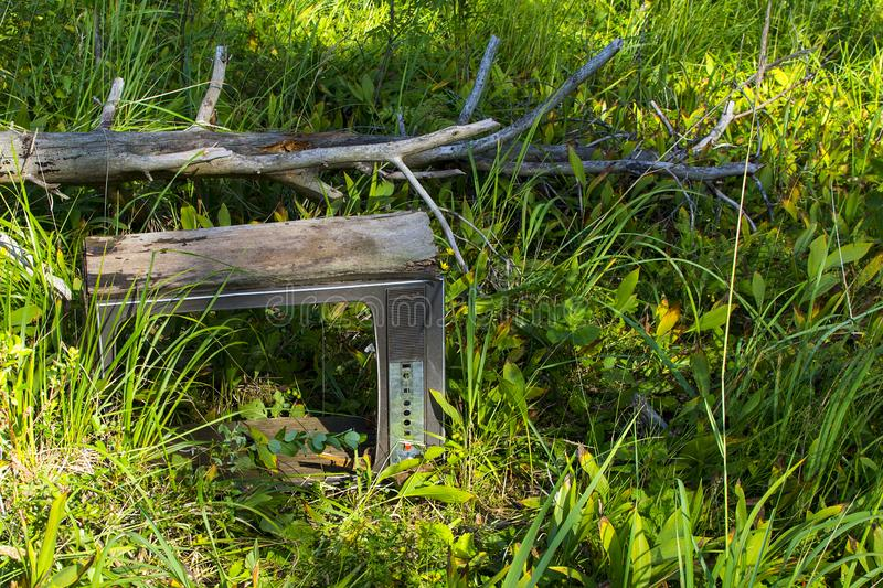 Old TV in the grass stock image