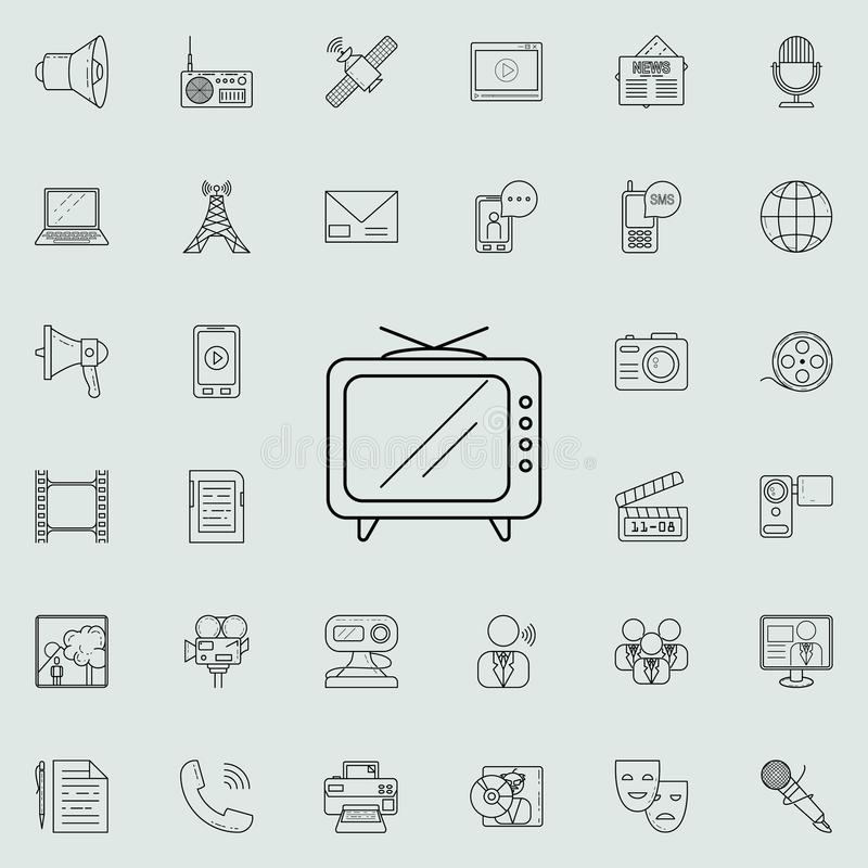 Old TV icon. Detailed set of Media icons. Premium quality graphic design sign. One of the collection icons for websites, web desig. N, mobile app on colored stock illustration