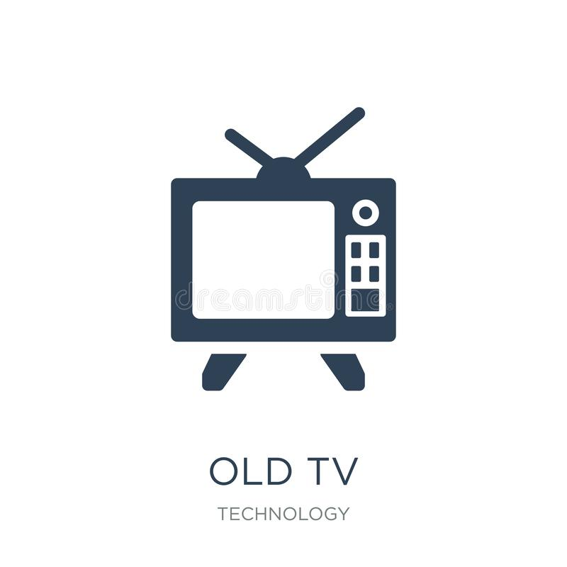 old tv icon in trendy design style. old tv icon isolated on white background. old tv vector icon simple and modern flat symbol for stock illustration