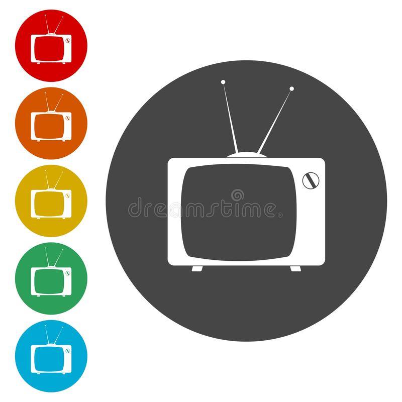 Old TV icons set. Vector icon vector illustration