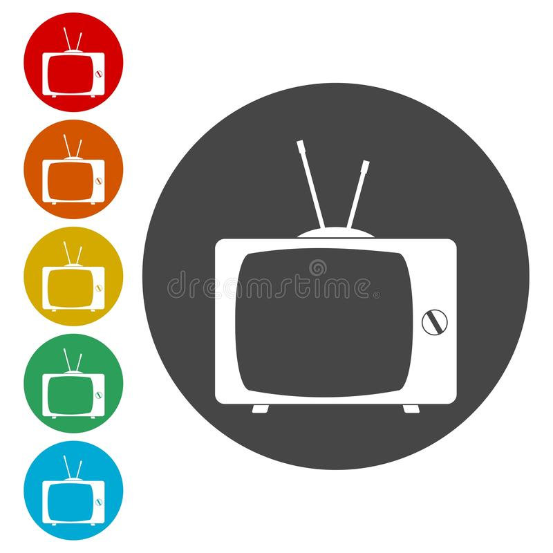 Old TV icons set. Vector icon royalty free illustration