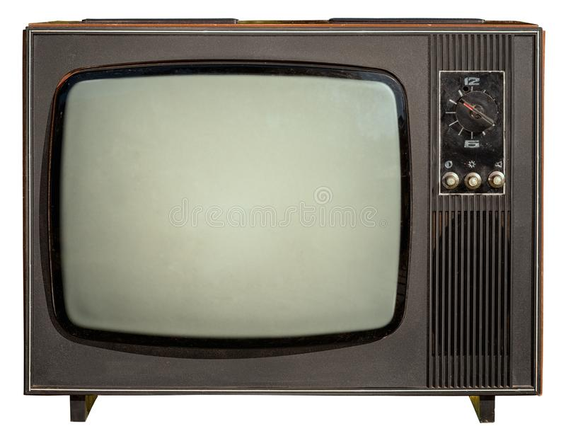 Old tv isolated on white royalty free stock images