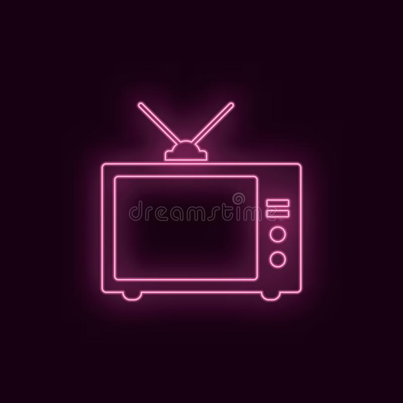 Old tv, neon, icon. Theater ruby color neon ui ux icon. Theater sign logo vector - Vector royalty free illustration