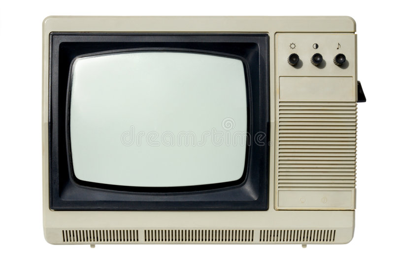 Old TV set. An old TV set (the 70s) isolated on white
