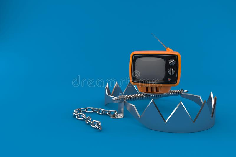 Old TV set with bear trap. Isolated on blue background. 3d illustration royalty free illustration
