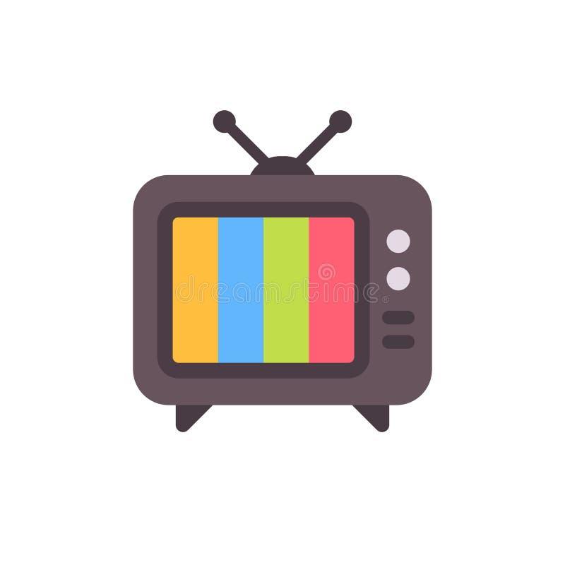 Old tv set with error screen. Retro tv flat icon. Old tv set with error screen. Retro tv with no signal flat icon stock illustration