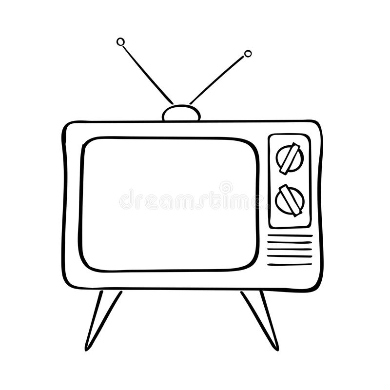 Old tv set. Hand drawn vector illustration. Vintage background stock illustration