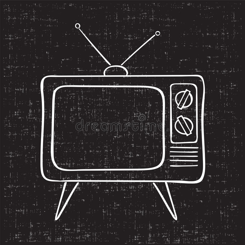 Old tv set. Hand drawn vector illustration. Vintage grunge background vector illustration