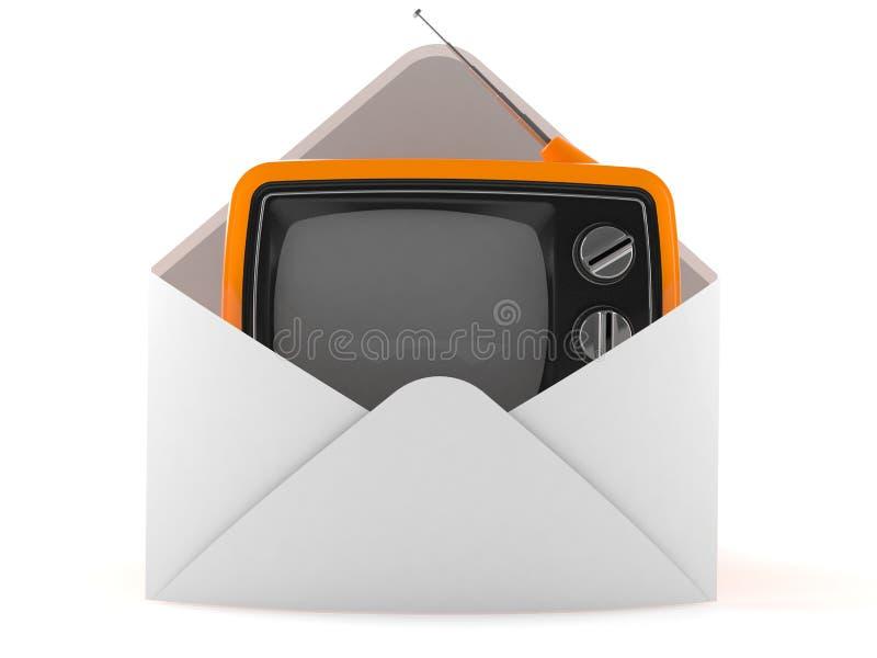 Old TV set inside envelope. Isolated on white background. 3d illustration royalty free illustration