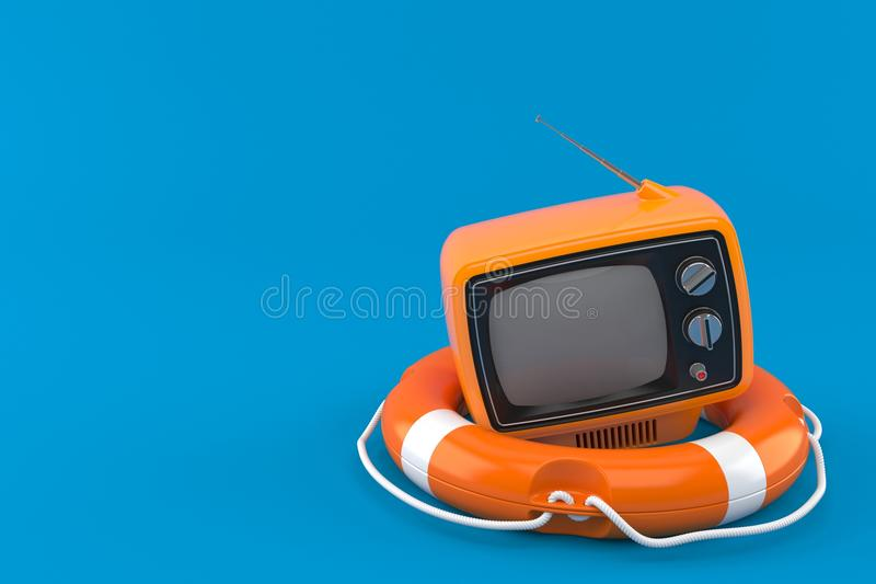 Old TV set with life buoy. Isolated on blue background. 3d illustration stock illustration
