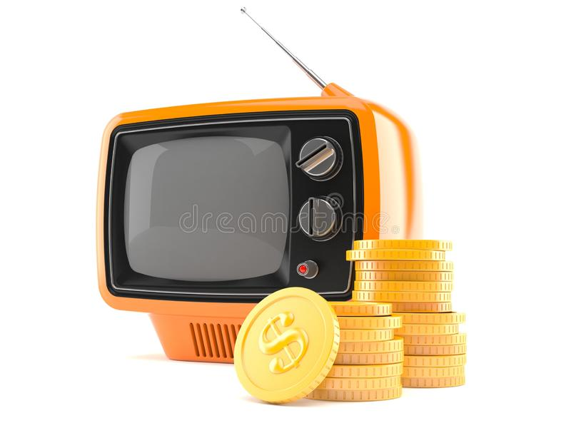 Old TV set with stack of coins. Isolated on white background. 3d illustration stock illustration