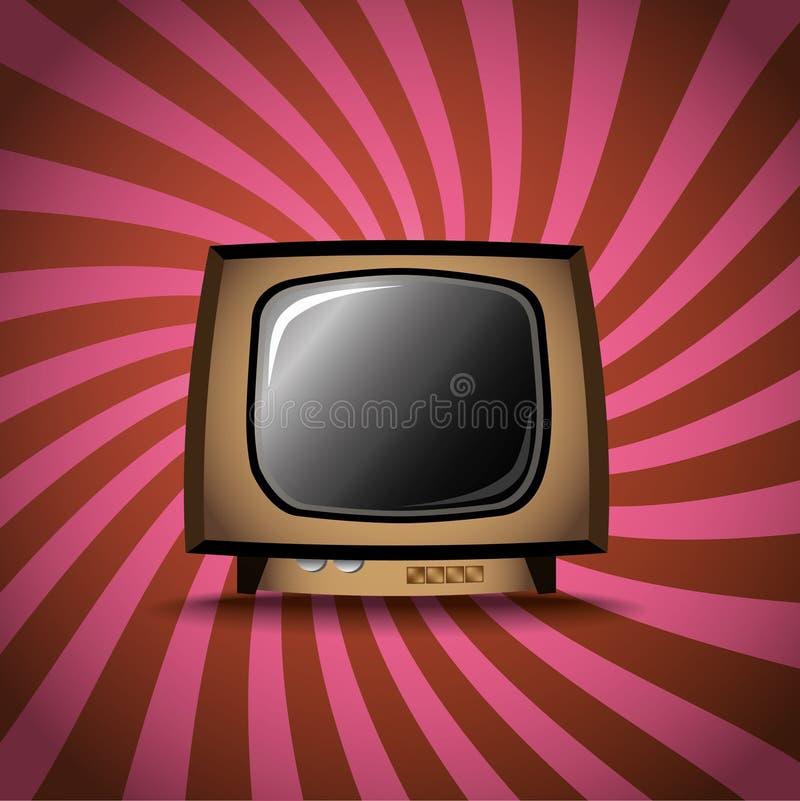 Old TV on stripes background. Illustration royalty free illustration