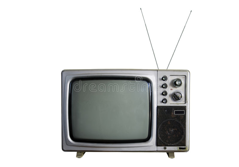 An old TV on white background stock image