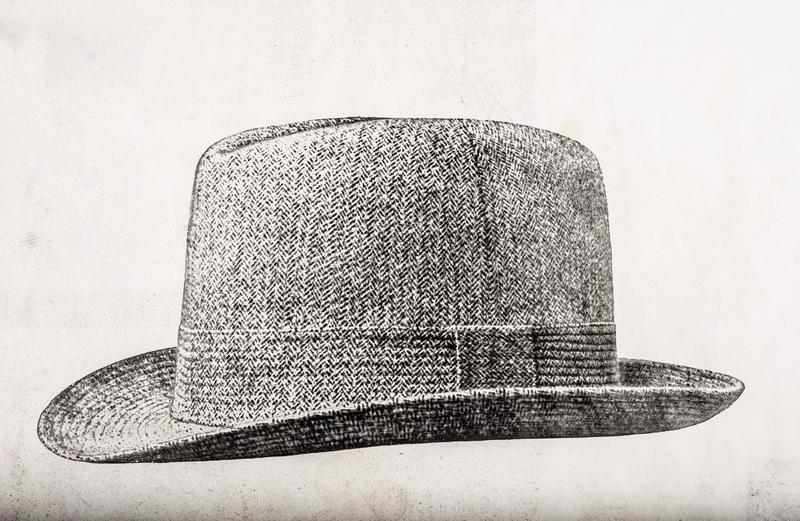 Old tweed hat drawing. Print with an old tweed hat drawing in black and white stock illustration