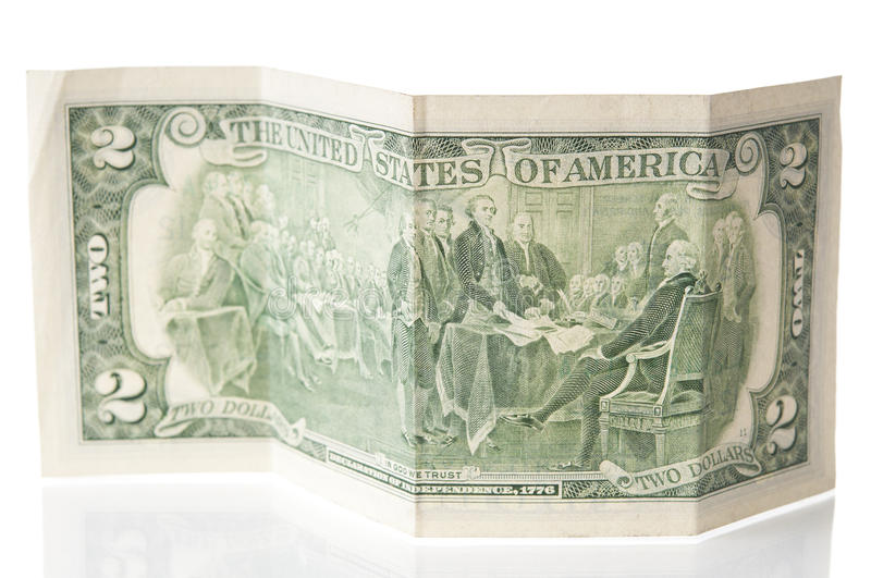 Old two dollars bill closeup stock photo
