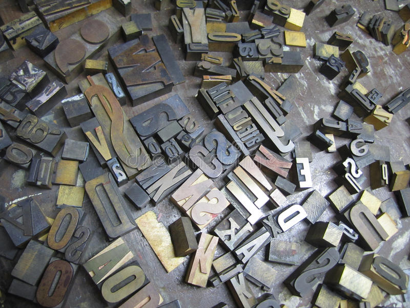 Old Typeset Letters stock images