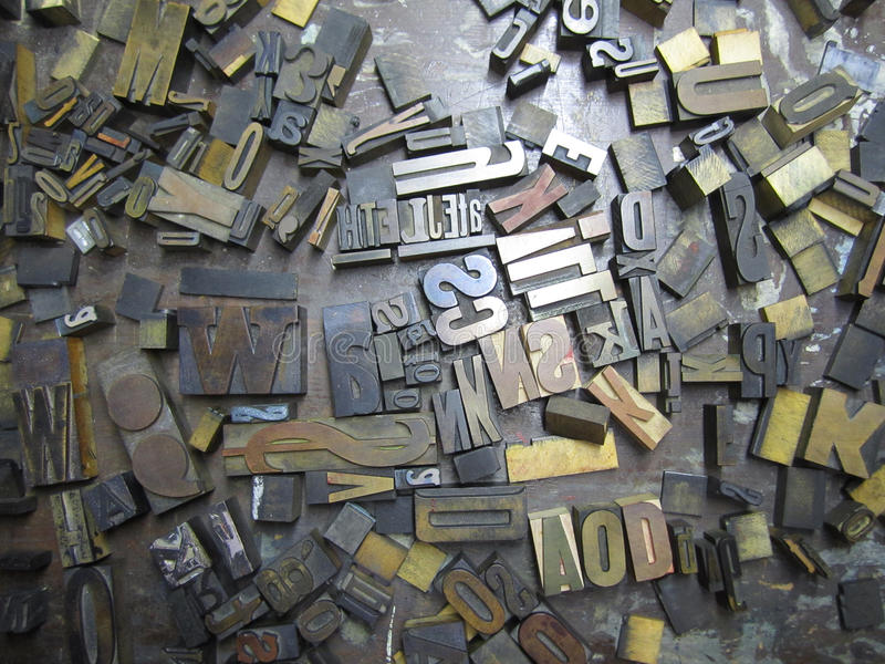 Old Typeset Letters stock image