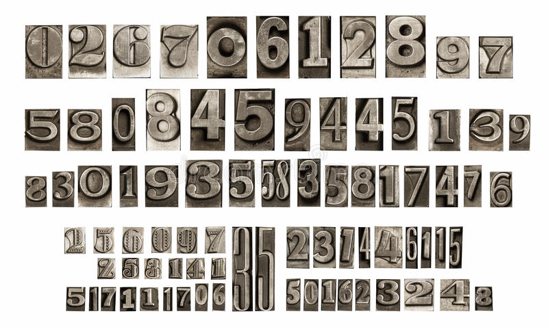 Download Old typeset numbers stock photo. Image of metal, rough - 35856880